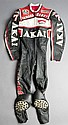 Barry Sheene 1981 Akai Yamaha race-worn leathers,