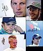 Formula 1 driver-signed portraits of three World