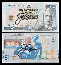 A pair of Royal Bank of Scotland five pounds banknote autographed by Jack N