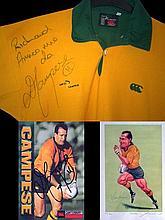 Autographed David Campese memorabilia, i) signed John Ireland print (also s