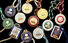12 gilt-metal & enamel members' badges for York, 1957, 1958, 1959, 1961, 19