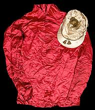 The red silk jacket worn by Sim Templeman when winning The Oaks at Epsom in