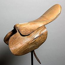 The saddle used by Willie Carson when completing the 1980 Derby and Oaks do