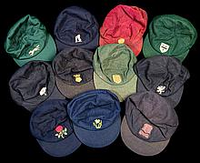 A collection of 11 County Cricket caps, including three named to players: R