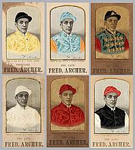 A group of six Stevengraphs of Fred Archer the jockey wearing a different o