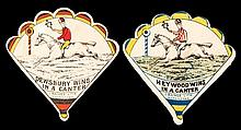 Two horse racing cards published by J. Baines, fan-shaped, both featuring a