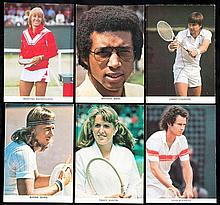 63 tennis colour portrait postcards of competitors at Wimbledon in the 1970