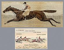 A rare and large Stevengraph of the 1881 Derby winner Iroquois with Fred Ar