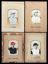 A group of four Stevengraphs of Victorian jockeys, silkwork pictures of Fre