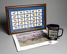 Martell Grand National memorabilia, water jugs, cigarette style cards of wi