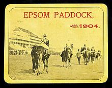 An Epsom Paddock entrance pass for 1904, the yellow card with a photographi