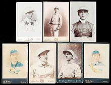 Seven Victorian cabinet cards of jockeys, including a portrait of Fred Arch