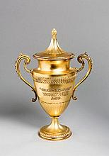 The trophy for the 1919 Derby Stakes, a silver-gilt trophy cup & cover, hal