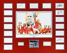 A 1966 World Cup autographed display, with central artist drawn print signe