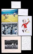An assortment of England 1966 World Cup autographs, a reunion dinner menu s