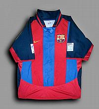 A team-signed Luis Garcia Barcelona No.22 replica jersey, profusely signed,