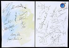 Two autographed sheets for the opening of the ''Football Football'' theme r