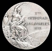 A Los Angeles 1932 Olympic Games silver second-place prize medal,  in s