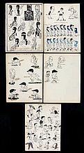 Eight various artist drawn pen & ink caricatures of 1930s/1940s sportsmen,