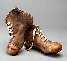 A pair of vintage child's football boots,  child's size 12, tan leather