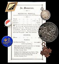 Medals and badges relating to the tennis player Kenneth Powell including a