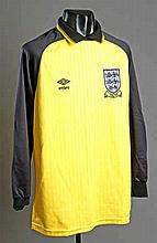 A yellow & black England Youth No.13 international goalkeeping jersey circa