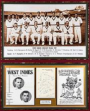 A West Indies 1957 cricket team autographed display,  a team-group of W