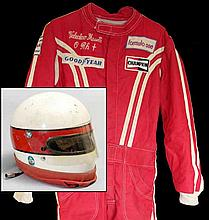 Valentino Musetti 1970s raceworn Bell helmet and Formula 1 racesuit,  t