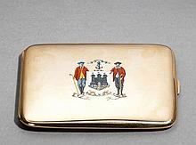 A fine 9ct. gold & enamel cigarette case presented by the Royal Burgess Gol