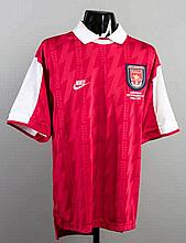 Ian Wright's red & white Arsenal No.8 jersey from the European Cup Winners'