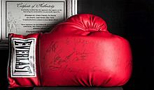A boxing glove signed by nine World Heavyweight Champions,  a red Everl