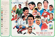 An autographed print commemorating the national captains at the 1991 Rugby