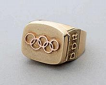 An East Germany National Olympic Committee ring awarded to their gold medal