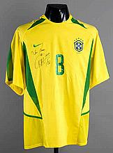 Kaka: a signed yellow Brazil No.8 international jersey,  short-sleeved,