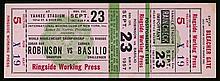A boxing ticket for the Sugar Ray Robinson v Carmen Basilio World Heavyweig