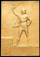 A Paris 1900 Olympic Games gilt winner's plaque,  in gilt by F Vernon,