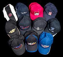 Eleven international motorsport and TV station caps,  comprising Honda