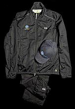 Network Ten Motorsport zip-jacket and black combat trousers by Hugo Boss,
