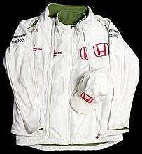 F1 Honda Racing Team 'Earthdreams' jacket with matching body warmer and cap