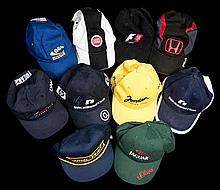 Ten Formula 1 Grand Prix team caps,  comprising Arrows, Jaguar Racing,