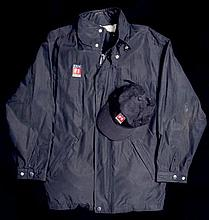 ITV F1 Sport dark blue jacket, matching cap and a pair of leather gloves,