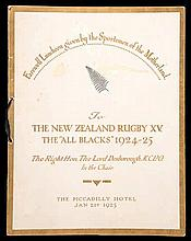 A farewell luncheon menu to the 1924-25 New Zealand
