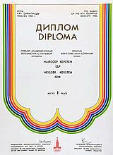 A Moscow 1980 Olympic Games Gold Medal Diploma awarded to Kersten Neisser o