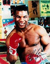 A Mike Tyson signed colour photograph,  an impressive 16 by 20in. signe