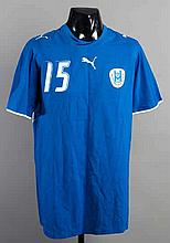 A blue Israel No.15 international jersey,  short-sleeved    Thi