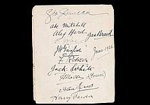 An album page autographed by eleven golfers including nine Open Championshi