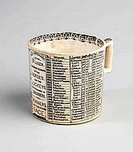 A pottery mug commemorating the winners of the St Leger between 1776 and 18