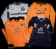 A group of four Shaun Newton Wolverhampton Wanderers jerseys,  i) a lon