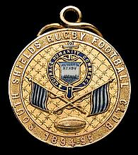 A South Shields Rugby Football Club medal 1895,  in 9ct. gold & enamel,