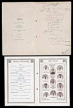 A signed Preston North End 1922 F.A. Cup Final Dinner menu,  held at th
